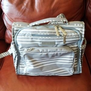 Jujube grey/ white striped baby backpack